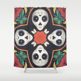 Cross Bones // Sugar Skull Skeleton Creepy Cute Black White Red Green Mandala Pattern Shower Curtain