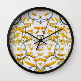 abstract paint pattern blue circle Wall Clock