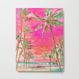 Retro Hawaiian Beach, Mauna Lani Pink Metal Print