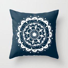 Simple white mandala on navy blue Throw Pillow