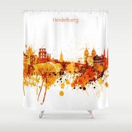 Heidelberg Germany Red Yellow Skyline Shower Curtain