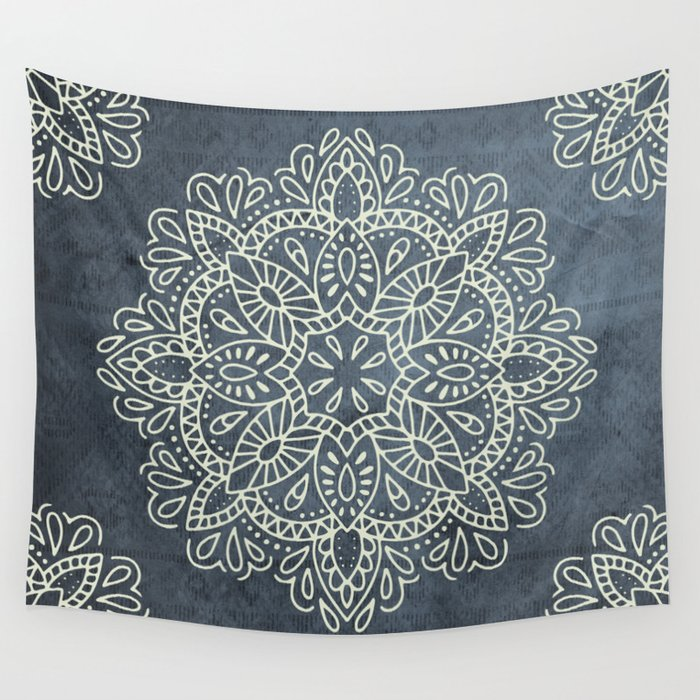 Mandala Vintage Ivory Blue Wall Tapestry by naturemagick | Society6