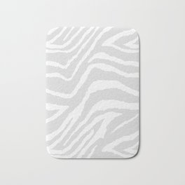 ZEBRA GRAY AND WHITE ANIMAL PRINT Bath Mat