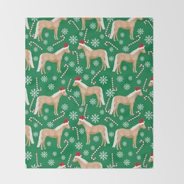 Palomino Horse Christmas - peppermint, candy cane, snowflake, christmas, green and red, santa Throw Blanket