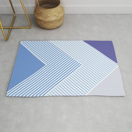 Blue Vibes - Geometric Triangle Stripes Rug