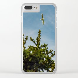 Seagull Pine tree tops Clear iPhone Case