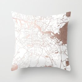 Amsterdam White on Rosegold Street Map Throw Pillow