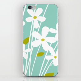 Flowers on Blue by Friztin iPhone Skin