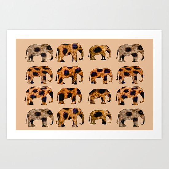 CHEETAH ELEPHANTS Art Print