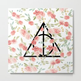Floral Deathly Hallows Metal Print