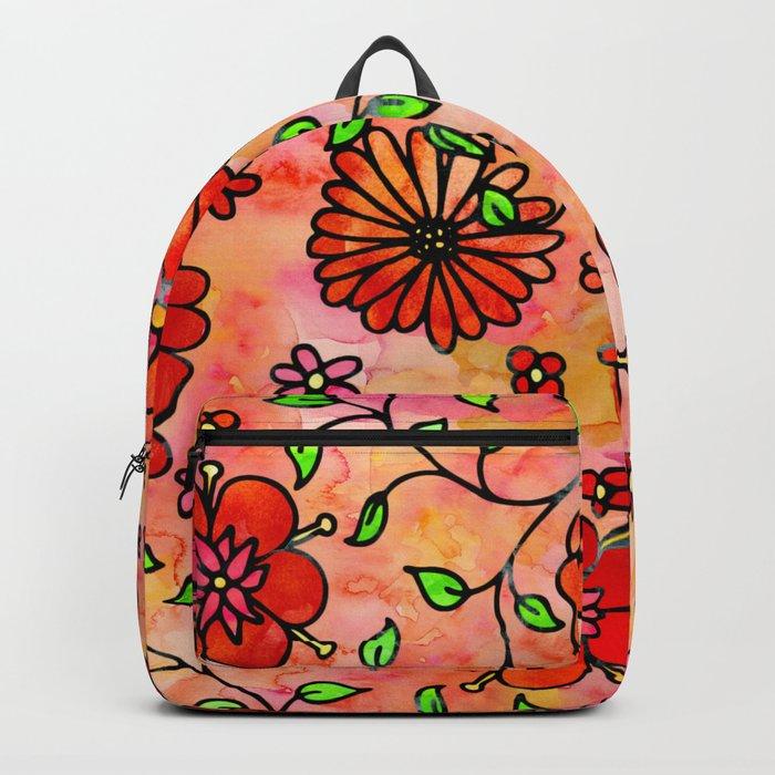 Orange Small Flowers Backpack