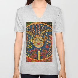 Peyote Sun Ritual Huichol Unisex V-Neck