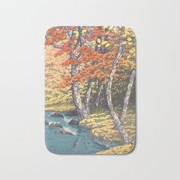 Japanese Woodblock -  Autumn in Oirase by Kawase Hasui, 1933 Bath Mat
