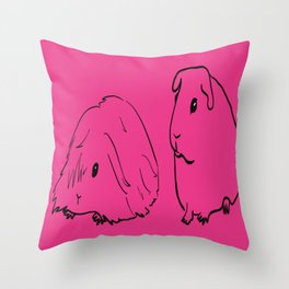 Guinea Pigs - American and Silkie With Hot Pink Background Throw Pillow