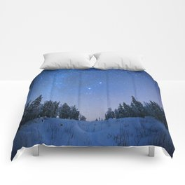 Blue Night Stars Wintry Forest Comforters