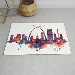 St Louis Watercolor Skyline Rug