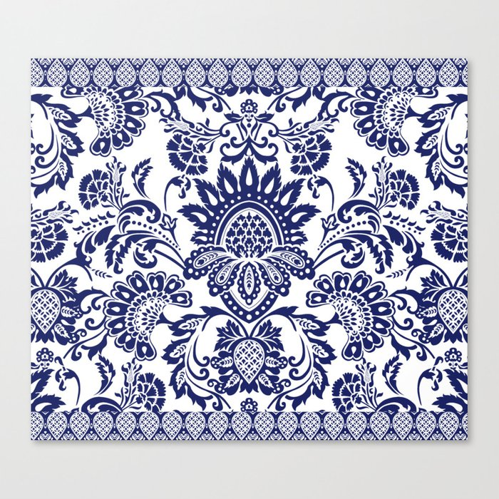 damask blue and white Leinwanddruck