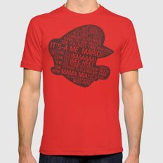 Super Mario Typography Mens Fitted Tee Red MEDIUM