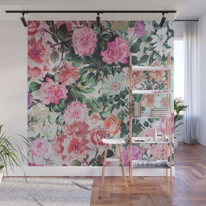 Vintage green pink lavender country floral Wall Mural by pinkwater