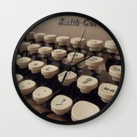 writer Wall Clocks featuring Type Writer by Chelsea Gibson