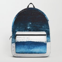Lake Michigan: a pretty, minimal abstract piece in icy blues by Alyssa Hamilton Art Backpack
