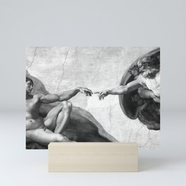 Black and White Creation of Adam Painting by Michelangelo Sistine Chapel Mini Art Print