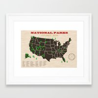 parks Framed Art Prints featuring National Parks by thebeardedman