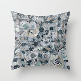 Winter Roses Abstract Throw Pillow