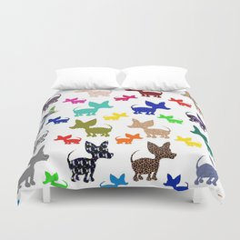 colorful chihuahuas on parade  Duvet Cover