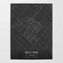 Milton, Canada - Dark Map Poster