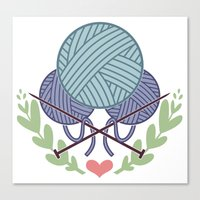 knitting Canvas Prints featuring Knitting by boots
