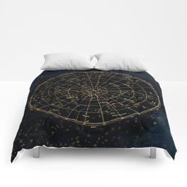 Golden Star Map Comforters