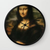 mona lisa Wall Clocks featuring Mona Lisa by Bilal
