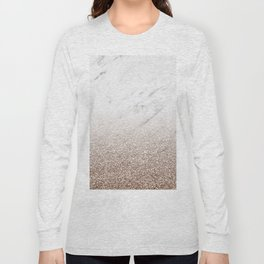 Glitter ombre - white marble & rose gold glitter Long Sleeve T-shirt