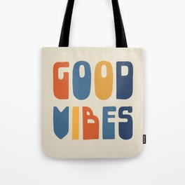 Good Vibes Positive Retro Typography in Blue, Orange, and Mustard on Light Beige Tote Bag