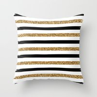 Throw Pillows featuring Black and Gold by Monique Bellavia