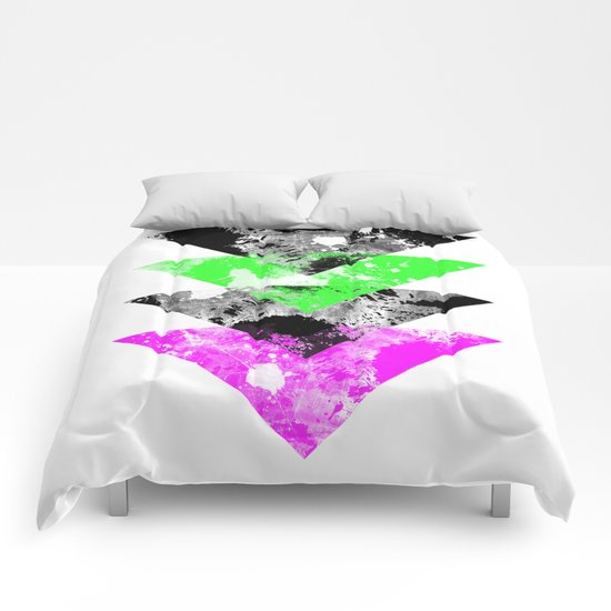 Descent - Geometric Abstract In Black, Green And Pink Comforters