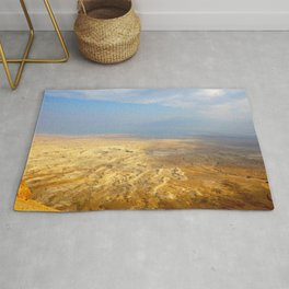 Vast Desert Landscape with Mountains in the Distance Rug