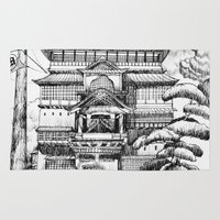 spirited away Area & Throw Rugs featuring Spirited Away Bathhouse by VivianLohArts