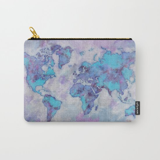 World Map Purple Carry-All Pouch