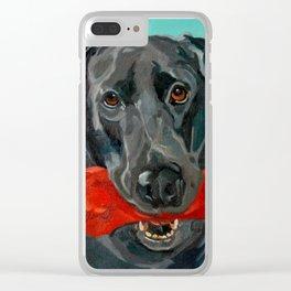Ozzie the Black Labrador Retriever Clear iPhone Case