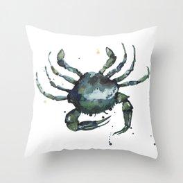 Crab, nautical art, seashore creatures, crab watercolor, natural crab painting, crab pillows,  Throw Pillow