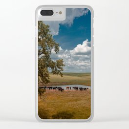 Cattle at a Watering Hole in the Pasture Clear iPhone Case