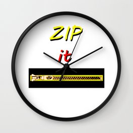 Zip it Black Yellow Red jGibney The MUSEUM Gifts Wall Clock