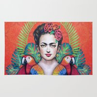 frida Area & Throw Rugs featuring Frida by alesaenzart