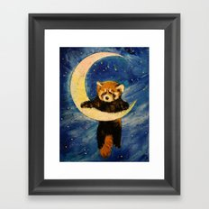 Red Panda Stars Framed Art Print