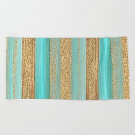 Turquoise Brown Faux Gold Glitter Stripes Pattern Beach Towel