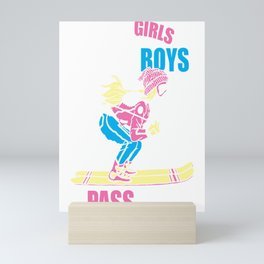 Girls Ski Graphic Cute Skier Skiing Women Mini Art Print