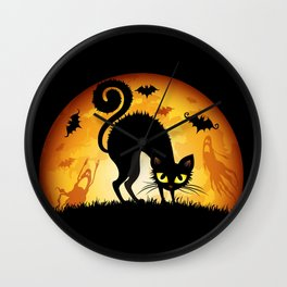 Starry Night Cat Wall Clock