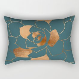 Abstract Metal Copper Blossom on Emerald Rectangular Pillow